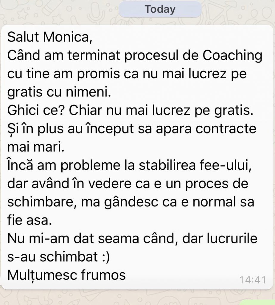 testimonial coaching Monica Ion